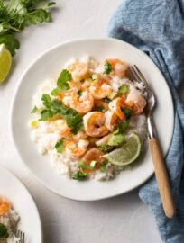 Garlic lime shrimp with cilantro and green onions.