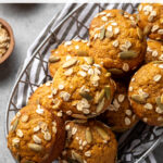 This healthy and easy recipe for pumpkin muffins is the best way to make them from scratch! You can use oil or applesauce, white or whole-wheat flour, so it's easy to adapt to your preferences and whatever you have on hand. They are moist, flavorful, and guilt-free, dreamy for breakfast, snacking, or sharing. Perfect for fall and Thanksgiving breakfast, too! #pumpkinrecipes #pumpkinmuffins #healthymuffins