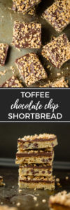 Toffee chocolate chip shortbread   A simple yet decadent bar cookie, perfect for Christmas baking and gifting! #toffee #shortbread #christmascookies