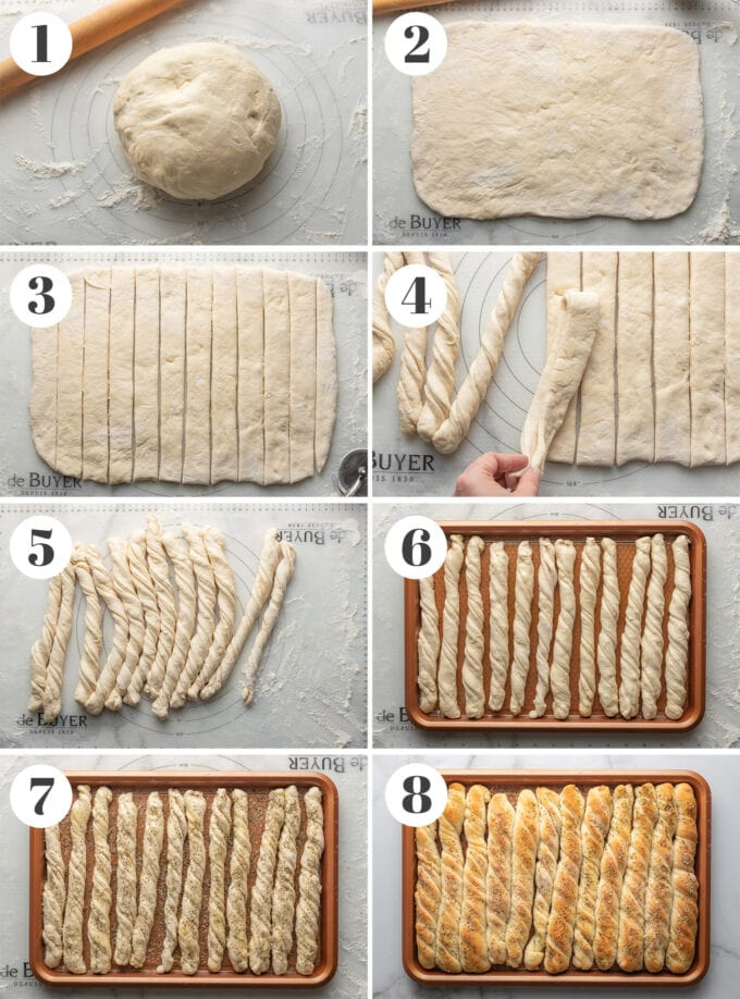 Step by step photos of making homemade breadsticks.