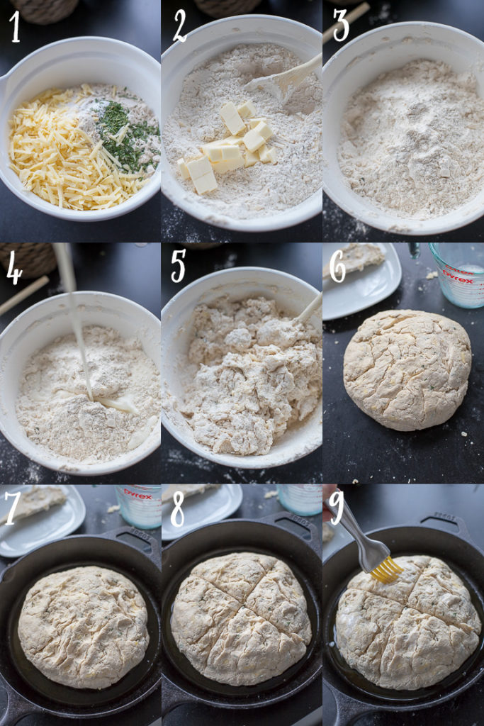 Step-by-step photos of how to make savory Irish soda bread in a skillet.
