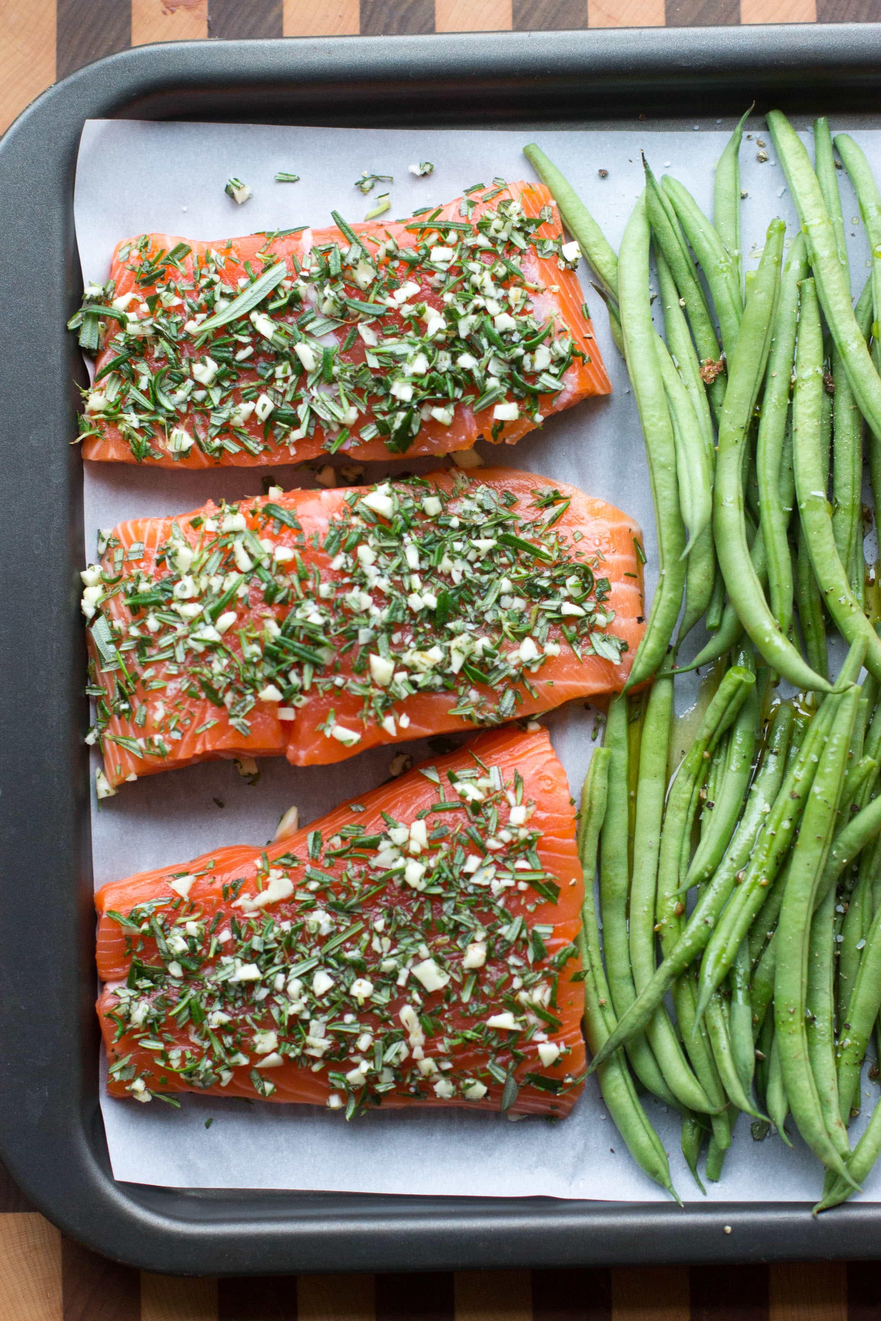 rosemary garlic sheet pan salmon, quick easy weeknight supper