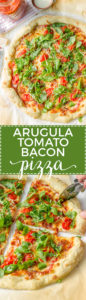 Pizza with marinara sauce, bacon, pan-roasted tomatoes, and fresh arugula. Fresh and delicious!