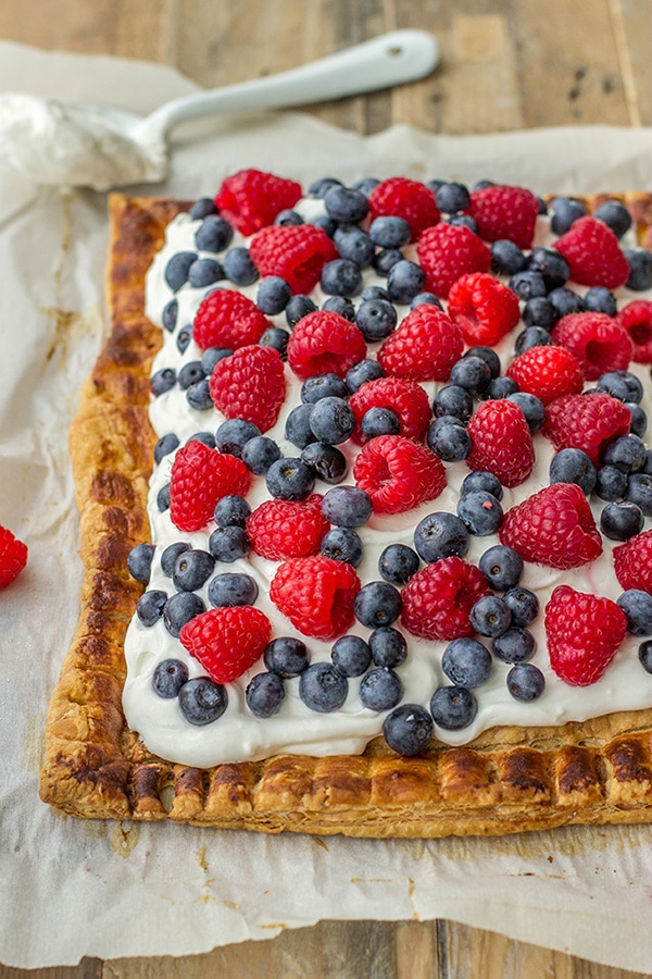 Puff pastry tart with berries and mascarpone. A perfect summer dessert, great for Fourth of July!