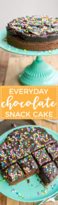 Everyday chocolate snack cake | Simple, one-layer chocolate cake with dark chocolate frosting, an easy dessert to feed a crowd.
