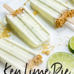 Key lime pie popsicles with Greek yogurt, honey, and a small graham cracker crust make a luscious and healthy summer treat, perfect for kids of all ages! #popsicles #keylimepie #summerdesserts