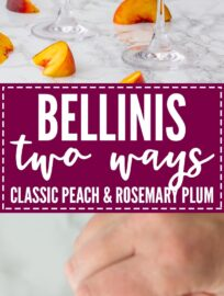 Bellinis two ways - classic peach and rosemary plum