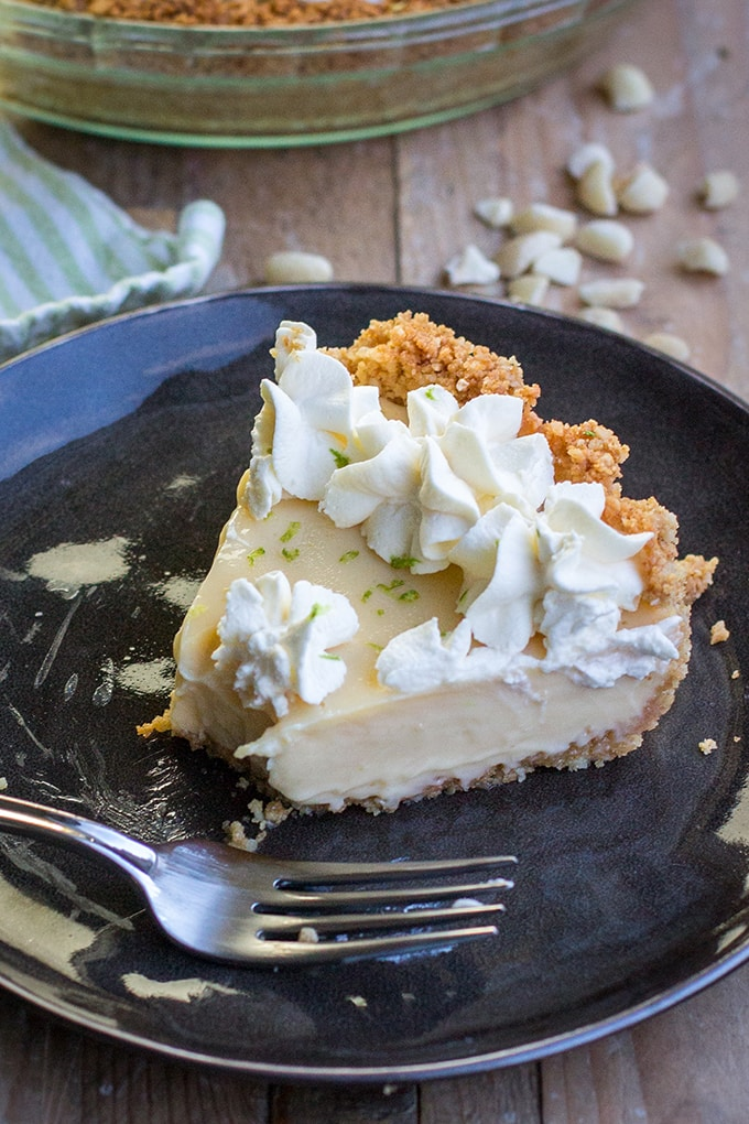 Key Lime Pie | A cool, creamy, classic spring summer dessert, fast and easy to make with fresh lime juice and a graham cracker macadamia nut crust.