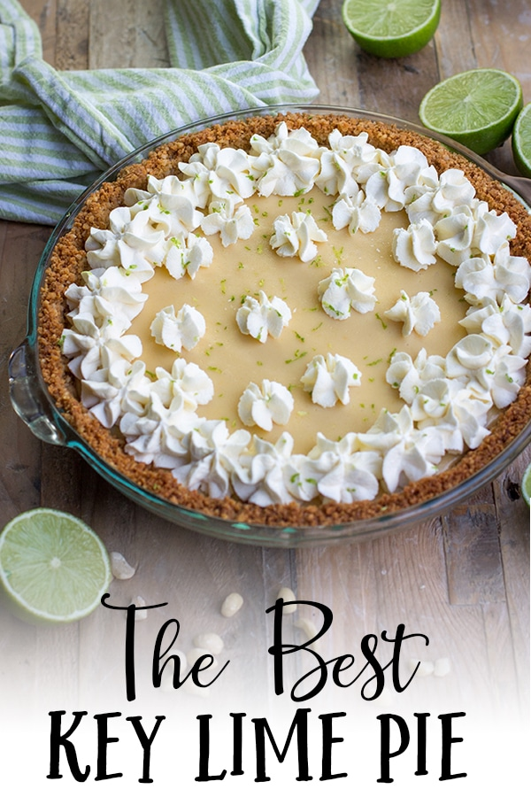 Classic key lime pie is a cool, creamy dessert perfect for spring and summer! This version is fast and easy to make with fresh lime juice and a little something special - a graham cracker macadamia nut crust. #keylimepie #summerdessert