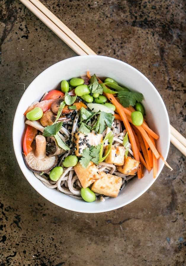 Peanut tofu and soba noodle bowl - mykitchenlove.com
