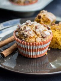 Pumpkin pecan streusel muffins | Sweet, moist pumpkin muffins topped with a cinnamon sugar pecan streusel. Delicious for fall and Thanksgiving brunch! #pumpkin #fallbaking