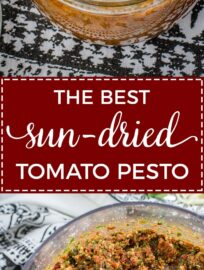Homemade sun-dried tomato pesto | Quick and easy pesto recipe with tomatoes, basil, pine nuts, and parmesan. Just a spoonful adds instant flavor to sauces, soups, pizza, pasta, and more! #pesto #fromscratch