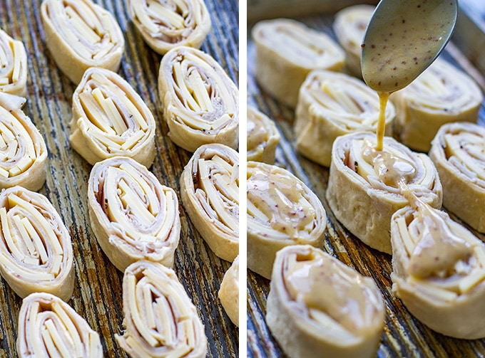The process of making turkey gouda party rolls and pouring over the honey mustard glaze.