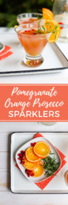 Say cheers with this sparkling orange pomegranate Prosecco cocktail, easy to make, light enough for brunch, fancy enough for a midnight toast! #prosecco #brunchcocktails #pomegranate