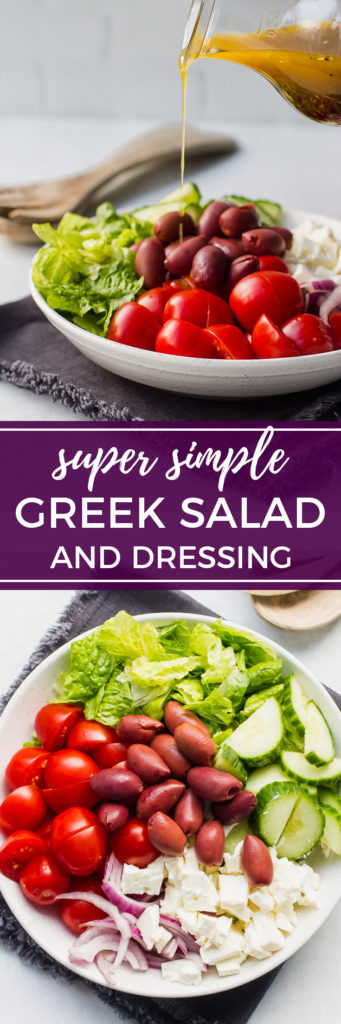 Simple Greek salad and homemade dressing | This classic is so healthy, easy to whip up at home, and divine when tossed with a light, easy homemade dressing. #greeksalad #saladdressing