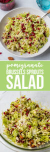 Shaved brussels sprouts pair perfectly with pomegranate seeds, toasted almonds, and a tangy buttermilk dressing to produce a crave-worthy salad. #brusselssprouts #salad #pomegranate