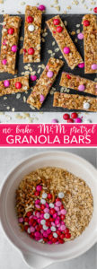 No-bake M&M pretzel granola bars are a delicious, simple snack. Ready in about 15 minutes, endlessly adaptable, and a great way to involve young kids in the kitchen! #nobake #granolabars #m&mrecipes