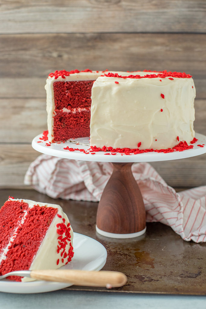 A casual, homemade one-bowl red velvet layer cake with cream cheese frosting.