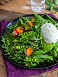 Spring sugar snap pea salad with arugula, carrots, radishes, mint, basil, and Buffalo mozzarella cheese.