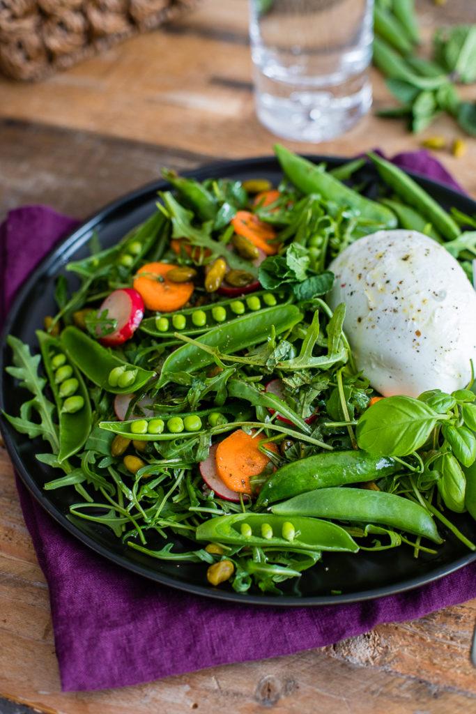fe991920e Spring Sugar Snap Pea Salad w  Buffalo Mozzarella - Nourish + Fete