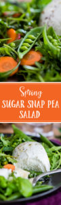 This fresh, bright healthy sugar snap pea salad is perfect for spring, with fresh mint, basil, arugula, carrots, radishes, balsamic vinaigrette, and a generous portion of fresh Buffalo mozzarella cheese. #sugarsnappeas #springsalad #springrecipes #springproduce