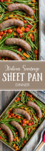 An ideal weeknight meal, this sheet pan Italian sausage dinner with sweet potato, green beans, and cherry tomatoes is full of flavor and lets you get a filling, veggie-packed supper on the table with minimal prep and clean-up! #sheetpan #onepot #easydinner
