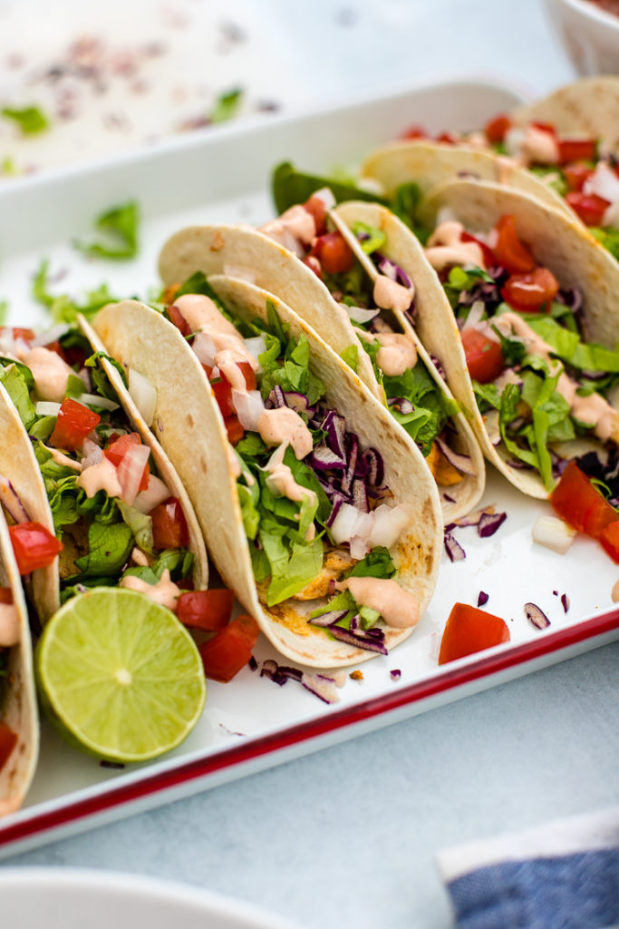 Close-up of skinny Baja chicken tacos.