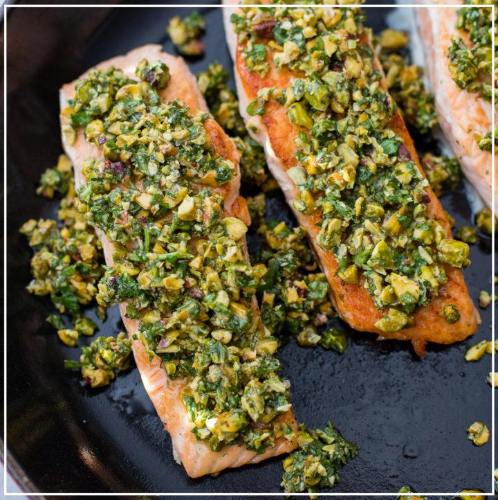 Pistachio herb crusted salmon.