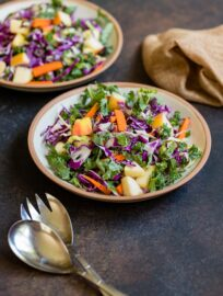 Two small plates filled with apple cabbage slaw with brown sugar cider vinaigrette dressing.