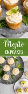 The best mojito cupcake recipe, packed with fresh lime juice, zest, and just the right amount of rum for the perfect boozy dessert! #cupcakes #mojitos #rum