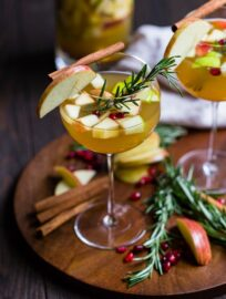 Glasses of autumn harvest white sangria.