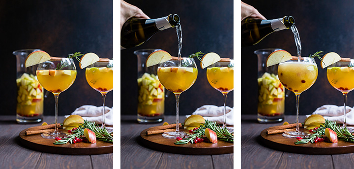 3-part photo of pouring sparkling wine into a white sangria.