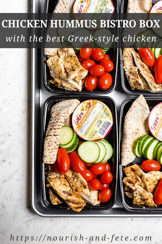 A delicious and simple Greek yogurt marinade makes this chicken hummus bistro box the best you'll ever have! If you're looking for a meal prep lunch idea, this is one you must try! #mealprep #lunch #bistrobox