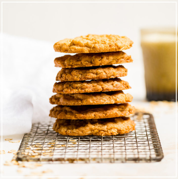 A stack of crisp oatmeal cookies.