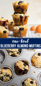 Our favorite muffins! These are so easy to make, and packed with blueberries and almond flavor. The perfect thing to make for brunch or when having overnight guests! #muffins #onebowlbaking #brunchrecipes