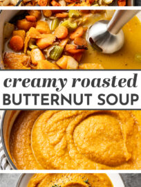 The best easy recipe for a healthy, creamy, and delicious roasted butternut squash soup! This is amazing comfort food for fall, with amazing flavor and tons of veggies. It's easy to make vegan, as well. #butternut #fallrecipes #souprecipes