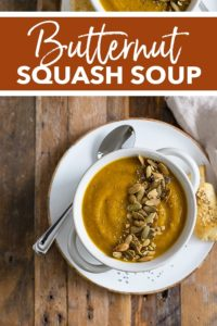 The ultimate easy recipe for a roasted butternut squash soup that's creamy, delicious, and full of vegetables! So simple to make and the perfect cozy fall soup and healthy comfort food. #butternut #souprecipes
