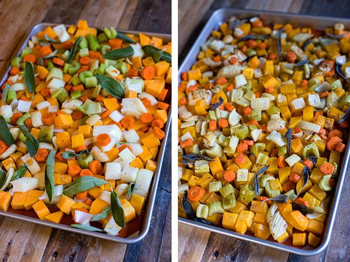 Side-by-side photos of veggies for roasted butternut squash soup on a sheet pan, before and after roasting.