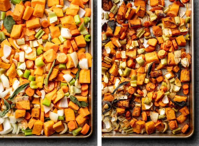 A sheet pan of butternut squash and other veggies, before and after roasting.