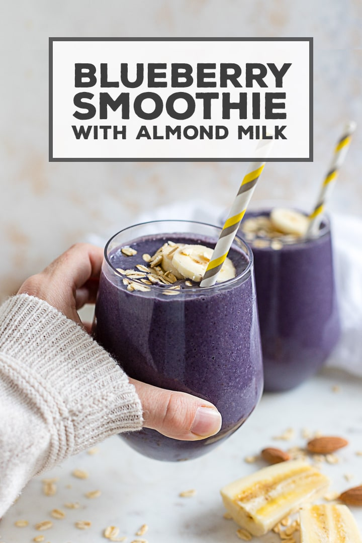 The dreamiest almond milk smoothie with blueberries and bananas - it tastes like a treat but is crazy healthy! Full of protein and antioxidants, and easy to make with everyday ingredients. #almondmilk #smoothie #blueberries