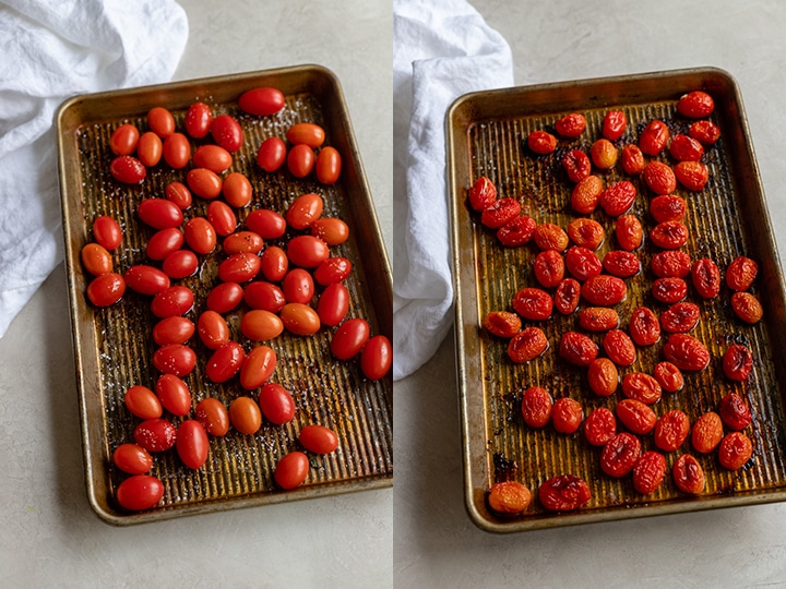 Before and after photos of oven-roasted cherry tomatoes with a slight char.