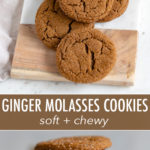 A fast, easy recipe for chewy ginger molasses cookies. 30 minutes, start to finish, no dough chilling required, and they're perfectly soft every time! #cookies #easycookierecipes #christmascookies