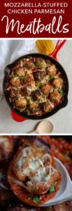 Meet the ultimate comfort food - mozzarella-STUFFED chicken Parmesan meatballs! Surprisingly easy to make and so delicious for a cozy meal with marinara sauce, more cheese, and pasta! #chickenparm #comfortfood