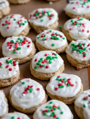 Close-up of frosted eggnog sugar cookies.