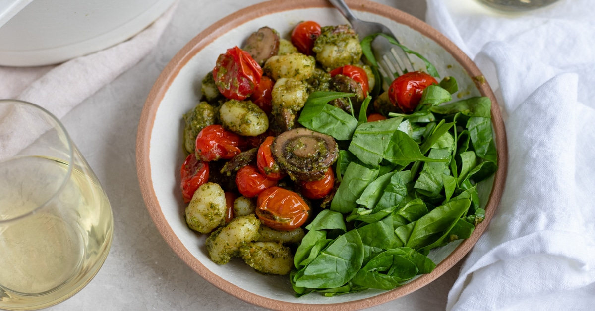 Gnocchi with Pesto and Charred Cherry Tomatoes