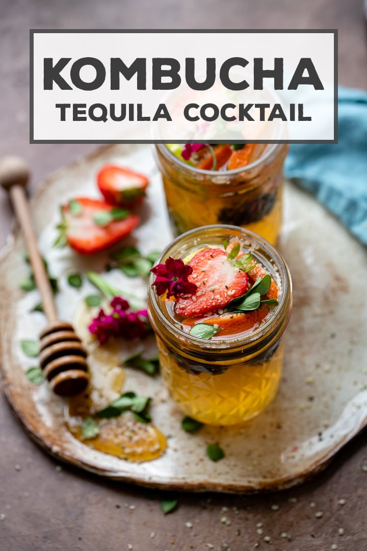An easy tequila kombucha cocktail recipe with a squeeze of lime and drizzle of honey, perfect for sipping and entertaining. Cheers! #tequila #kombucha #easycocktails