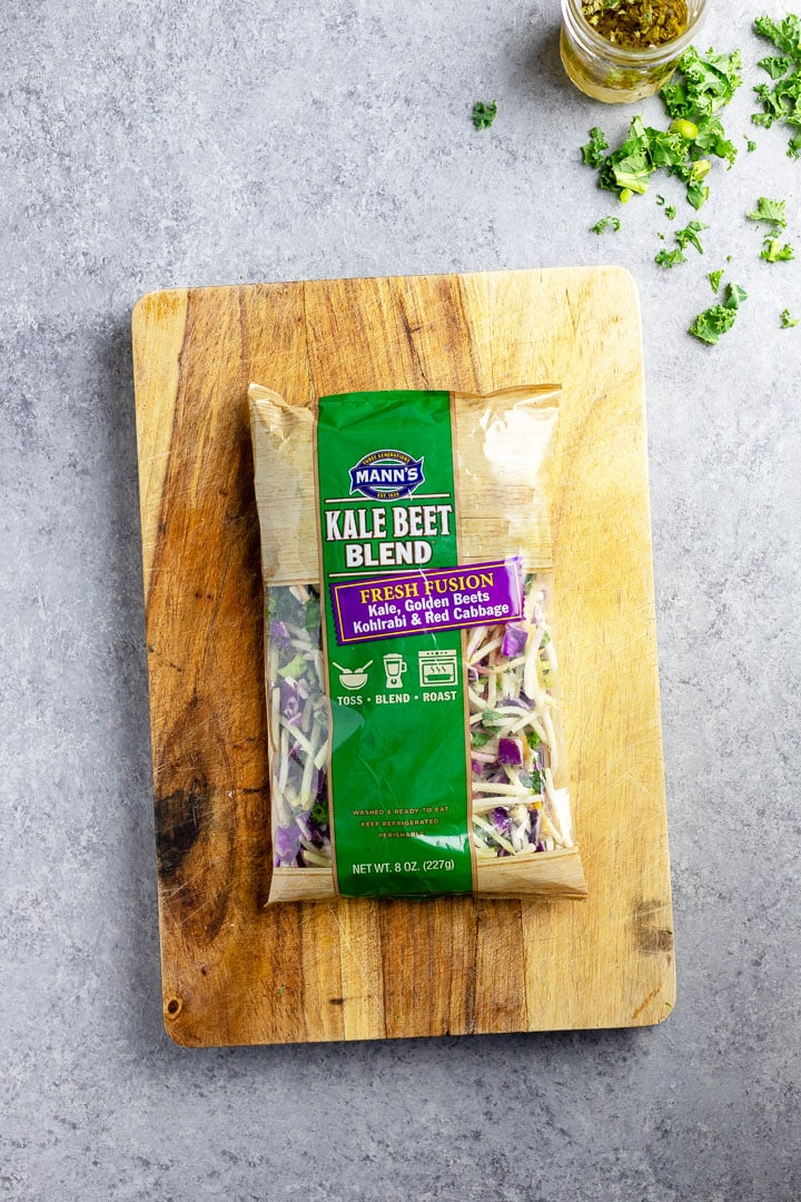 Package of Kale Beet Blend, a Veggie Slaw made by Mann's.