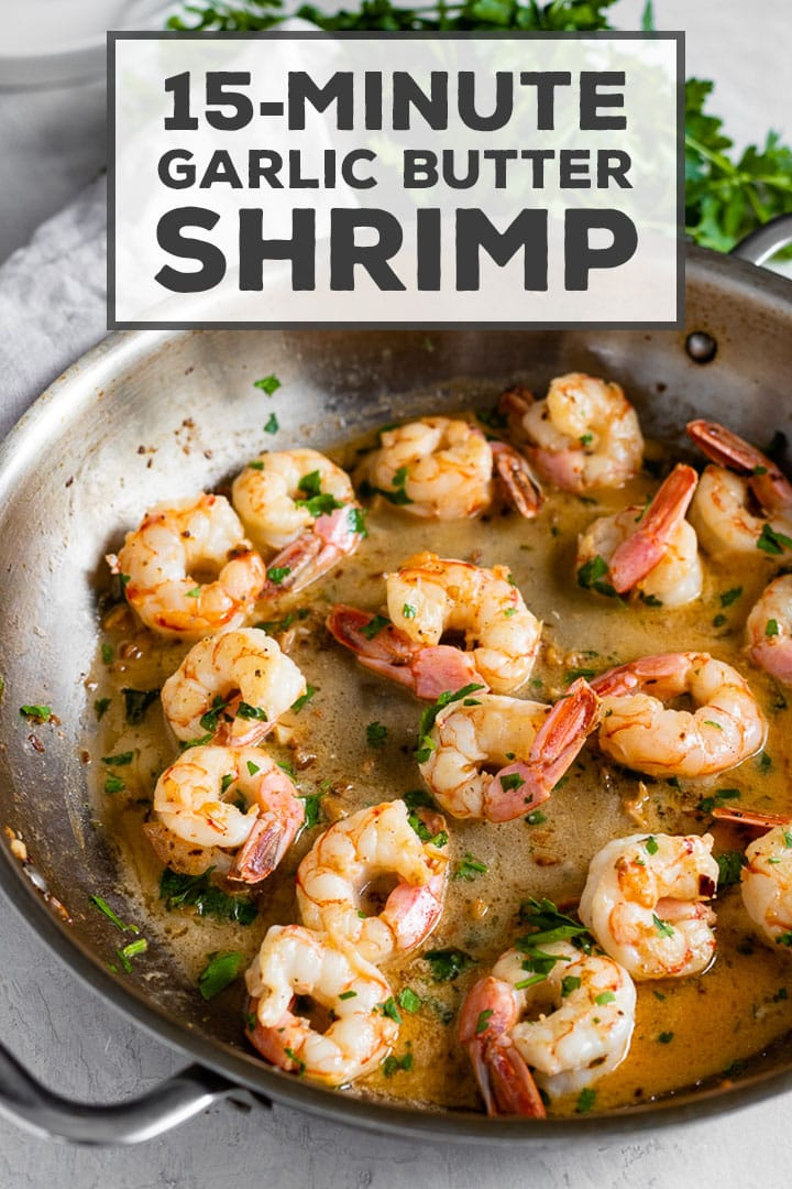 So delicious and ready in 15 minutes!! Garlic butter shrimp with fresh lemon juice and a hint of red pepper, perfect to pair with pasta, rice, quinoa, veggies, you name it. Everyone will rave and think you are a miracle worker for getting something so good on the table so fast! #shrimp #quickdinnerrecipe #garlic