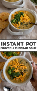 An Instant Pot broccoli cheddar soup that's easy-to-make, soul-warming, delicious, AND healthy! So many veggies, love at first bite. #instantpot #soup #healthy
