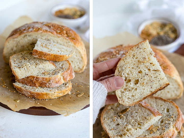 Stacked slices of four seed bread.